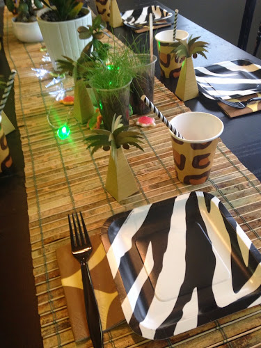 Zebra plates, wild Kratts birthday party, party pail