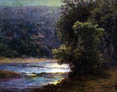 J. Ottis Adams - Moonlight on the Whitewater, 1900