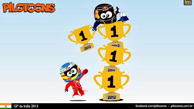 Себастьян Феттель завоевывает 4-ый титул - комикс pilotoons по Гран-при Индии 2013
