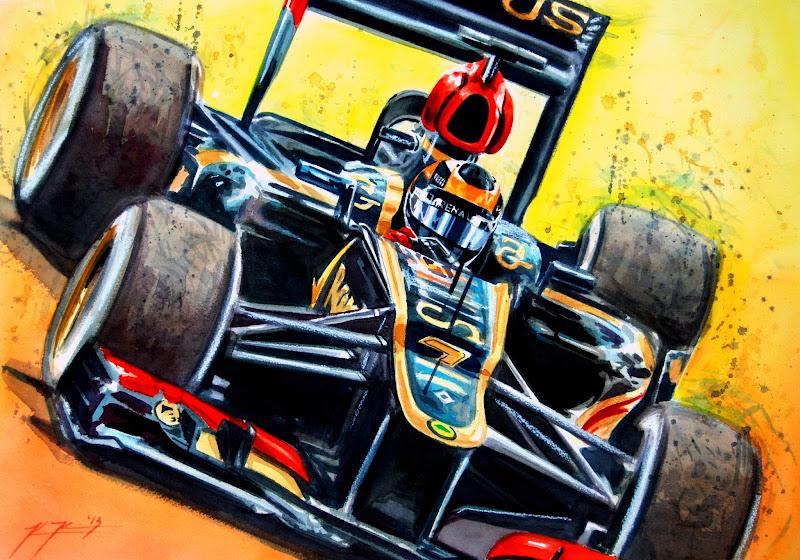Кими Райкконен Lotus F1 2013 - рисунок Kevin Paige Art