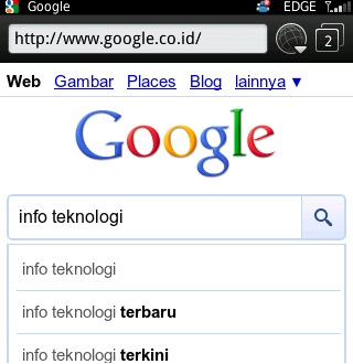 Google Search for Blackberry Autocomplete