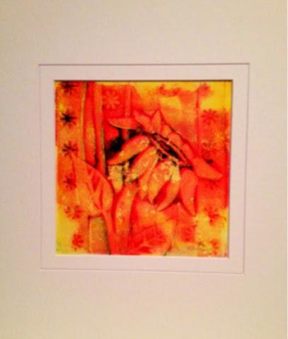 monoprint, artist Robin Baratta, sunflower