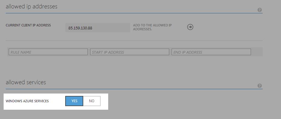 Azure Dastabase Azure Services Allowed
