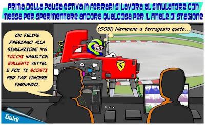 Фелипе Масса и Ferrari отрабатывают командную тактику на симуляторе - комикс Baldi