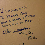 """Here's a little note Scotty left as Alex last year...somebody has since added """"Gay Fail"""""""