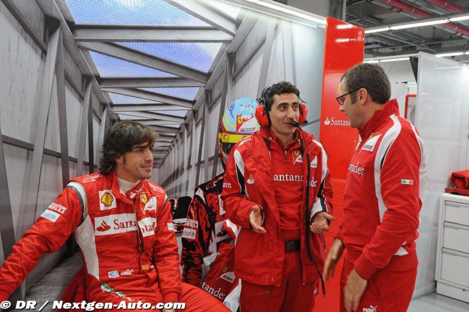 Фернандо Алонсо Андреа Стелла Стефано Доменикали в боксах Ferrari на Гран-при Кореи 2011