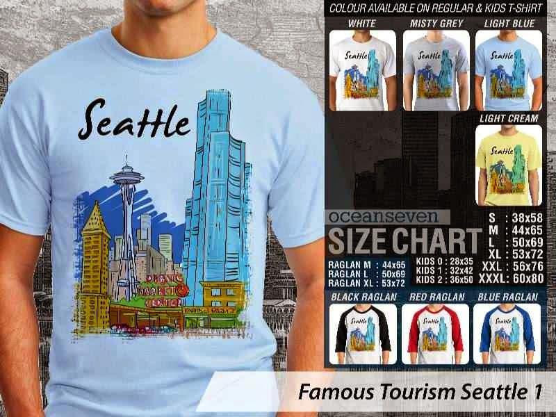 Jual Kaos Wisata Seattle 1 Amerika distro ocean seven