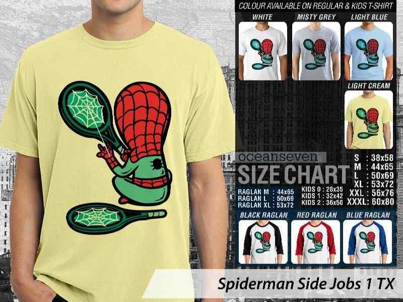 Kaos Superhero Spiderman Side Jobs 1 TX distro ocean seven