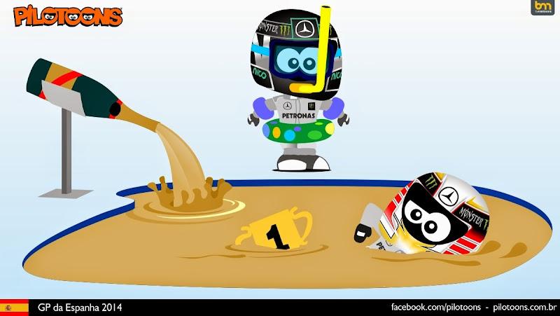 Нико Росберг и Льюис Хэмилтон купаются в шампанском - комикс pilotoons по Гран-при Испании 2014