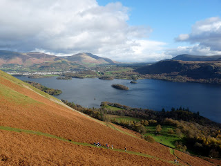 Walkers nearing Skelgill Bank with Derwentwater beyond.