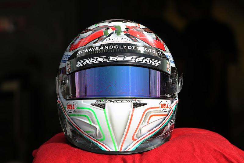 специальный шлем Витантонио Льюцци к Гран-при Италии 2011 в Монце вид спереди