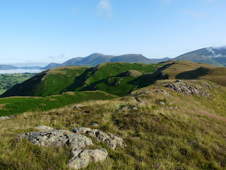 Looking back along High Rigg. Skiddaw on the skyline.