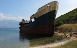 Karaburuni peninsula - a wrecked ship.
