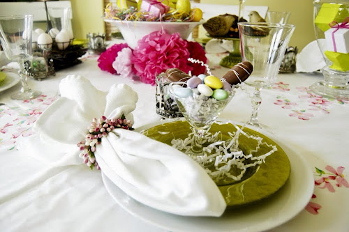 Easter tablescape, pink paper flowers