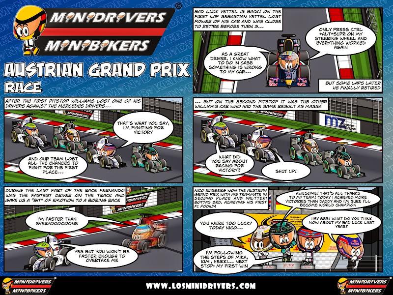 комикс MiniDrivers по гонке на Гран-при Австрии 2014