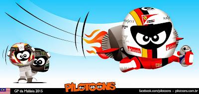 Себастьян Феттель летит к победе - комикс pilotoons по Гран-при Малайзии 2015