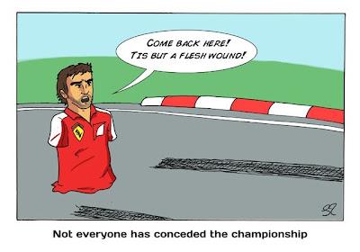 Фернандо Алонсо не сдается на Гран-при Бельгии 2013 - комикс Stuart Taylor