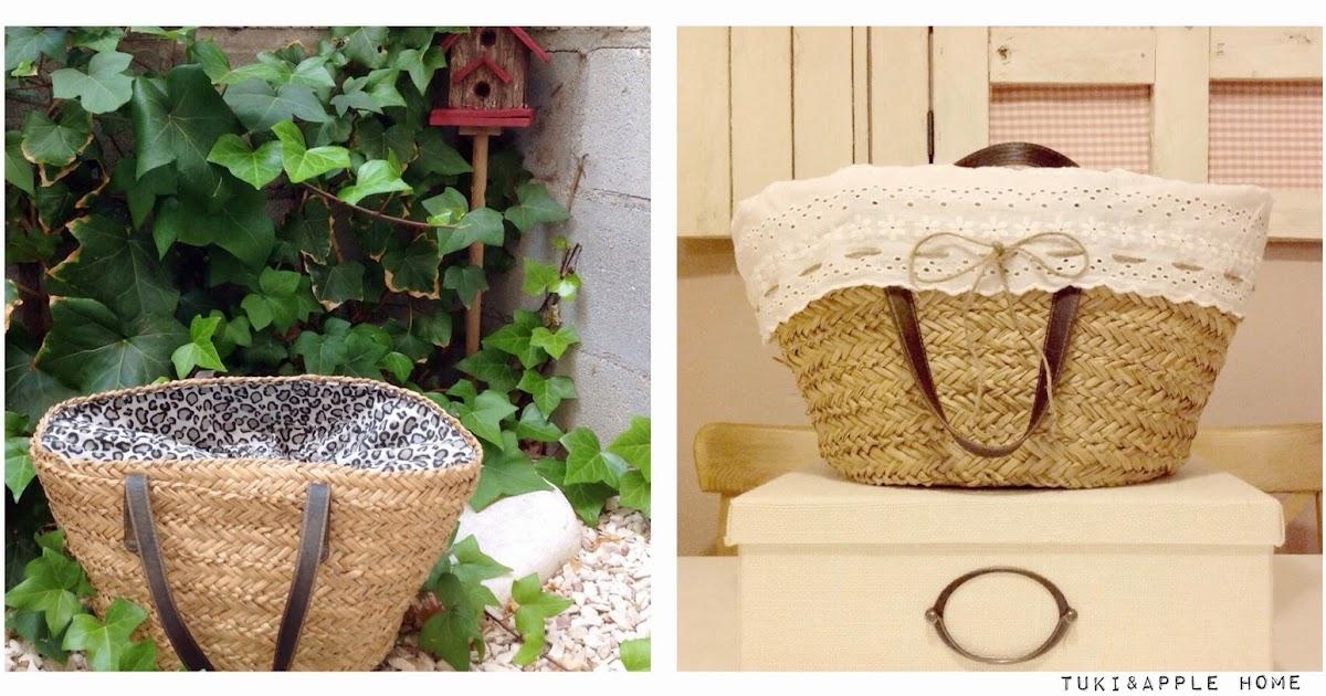 Tuki apple home diy c mo renovar un capazo o cesta de playa - Como forrar una cesta de mimbre ...