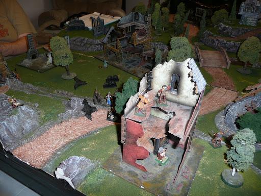 Kislevites occupying a ruin as Mircalla advances