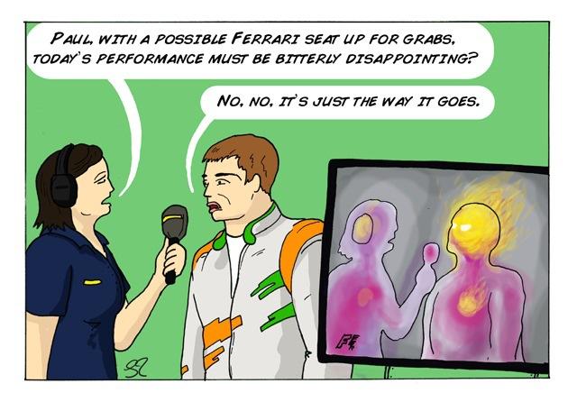 Пол ди Реста дает интервью Ли Маккензи после гонки - комикс Stuart Taylor по Гран-при Италии 2013