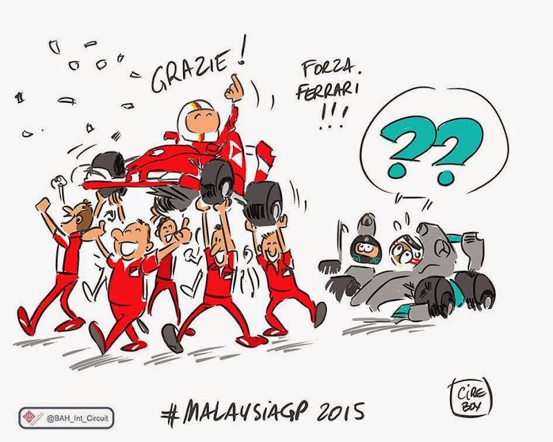Себастьян Феттель побеждает Mercedes в Куала-Лумпуре - комикс Cirebox по Гран-при Малайзии 2015