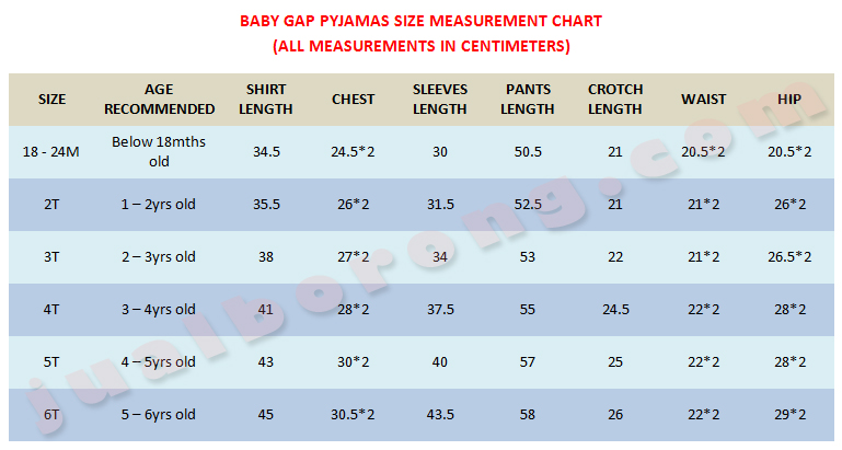 Baby gap pyjamas size chart baby care