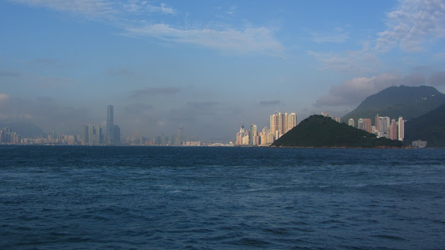 Sailing back through Hong Kong Harbour.
