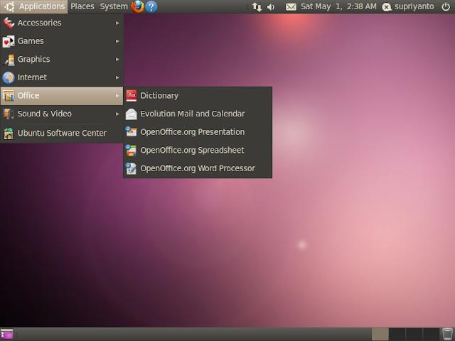 Dukungan banyak aplikasi: firefox, thunderbird, openofficeorg suite, gimp image editor, emacs text editor