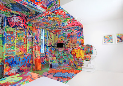 Half Graffiti Hotel Room By Tilt Seen On www.coolpicturegallery.us