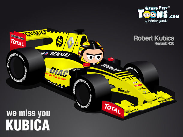 We miss you Kubica - Роберт Кубица Renault R30 by Grand Prix Toons