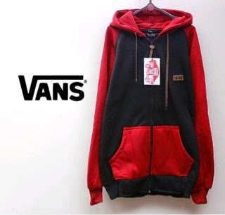 Jaket Vans Black and Red