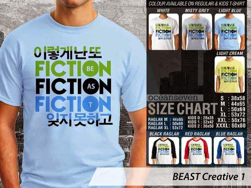 Kaos K Pop BEAST Creative 1 Boy Band Asal Korea Fiction Be As T distro ocean seven