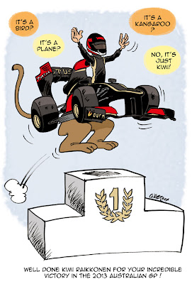 Кими Райкконен в болиде кенгуру-Lotus - комикс Cirebox по Гран-при Австралии 2013