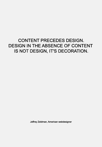 Warmenhoven & Venderbos | quote about design and content | Jeffrey Zeldman