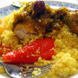 Couscous, Vegatables, and Chicken Tagine with Lemon and Olives - Casablanca, Morocco