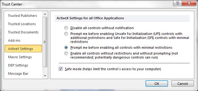 ActiveX Settings