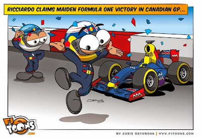 Даниэль Риккардо утверждает дебютную победу - комикс Chris Rathbone по Гран-при Канады 2014
