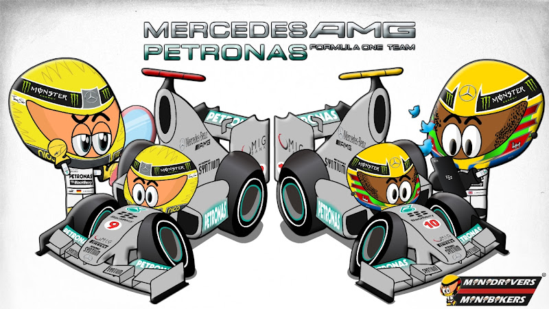 Нико Росберг Льюис Хэмилтон Mercedes W04 Los MiniDrivers 2013