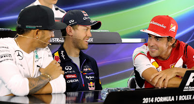 Льюис Хэмилтон, Себастьян Феттель и Фернандо Алонсо на пресс-конференции в четверг на Гран-при Австралии 2014