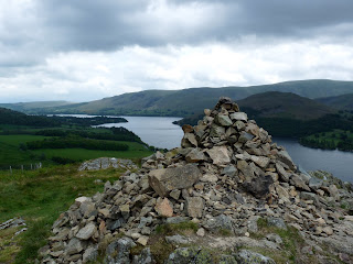 Cairn above Yew Crag looking down Ullswater.