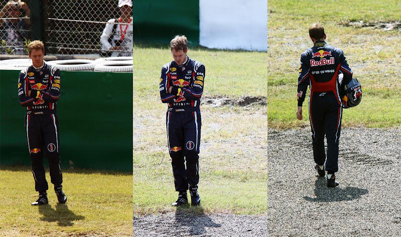 Себастьян Феттель после вылета во время первой сессии свободных заездов на Гран-при Японии 2011