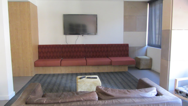 The dorm's TV lounge.