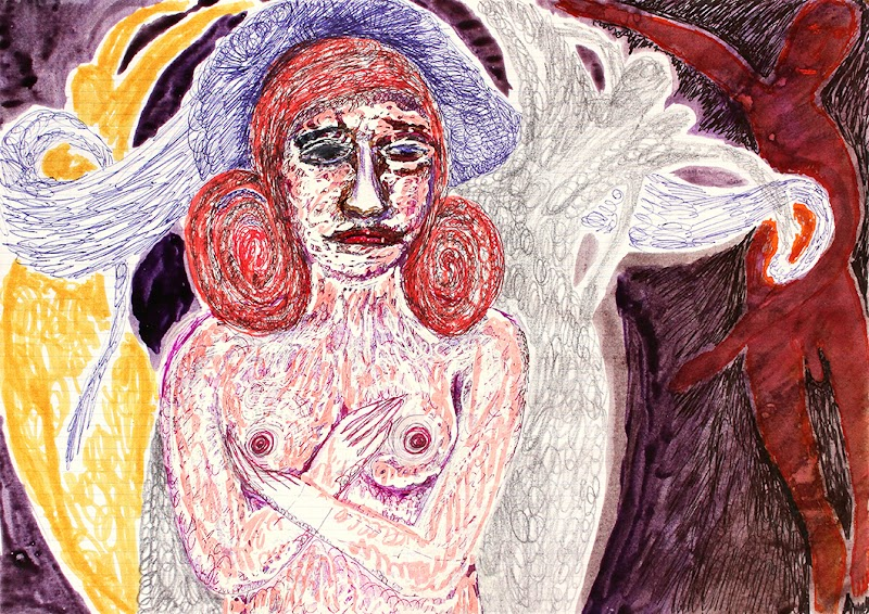 outsider in woman-man dance (drawing by frank waaldijk)
