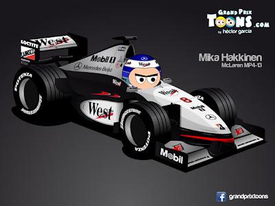 Мика Хаккинен 1998 McLaren MP4-13 Grand Prix Toons