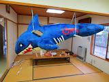 A home-made shark piñata, at Eidan's new friend's birthday party