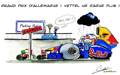 Себастьян Феттель не добирается до подиума на своем Red Bull на Нюрбургринге - комикс от Quentin Guibert по Гран-при Германии 2011