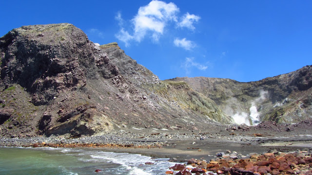 A collapsed wall of the volcano offers easy access to the crater.
