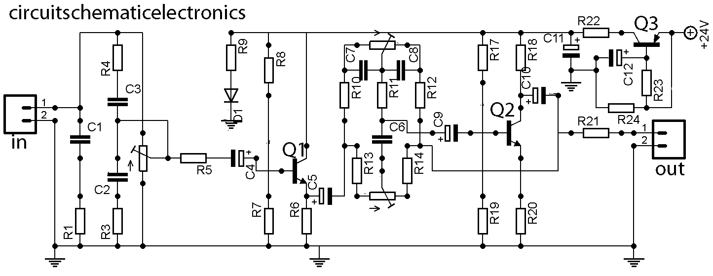 Tone Control Wiring Diagram Library Audio Noise Filter Circuits Eleccircuitcom Super Bass