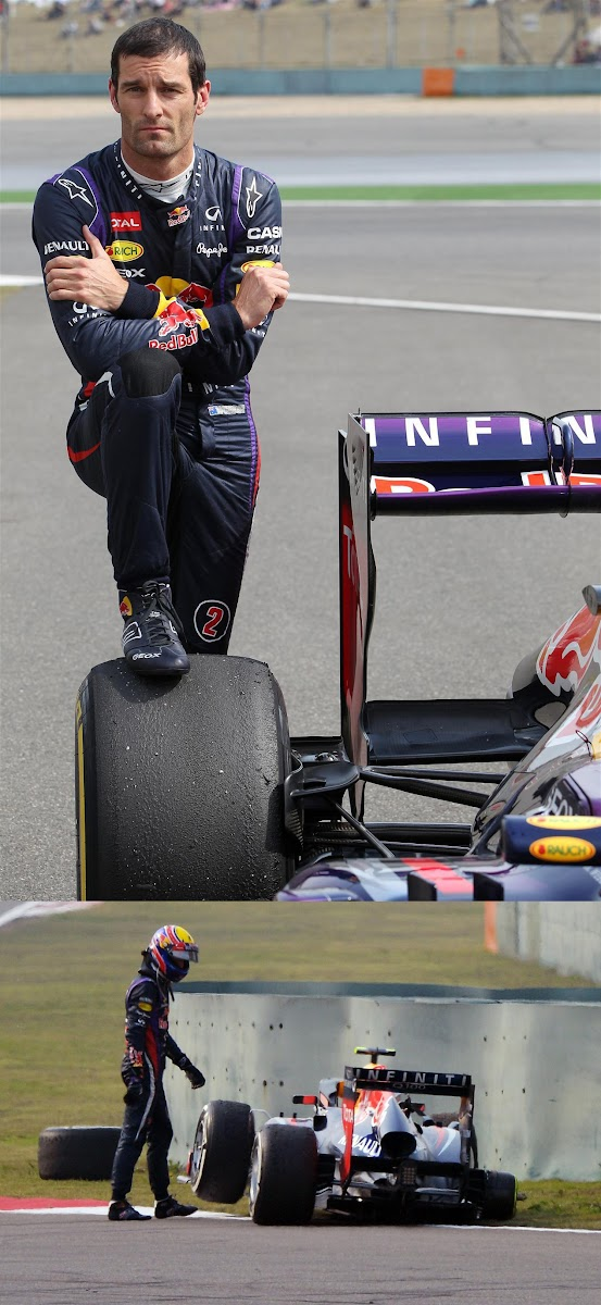 Марк Уэббер и отвалившееся колесо на Гран-при Китая 2013