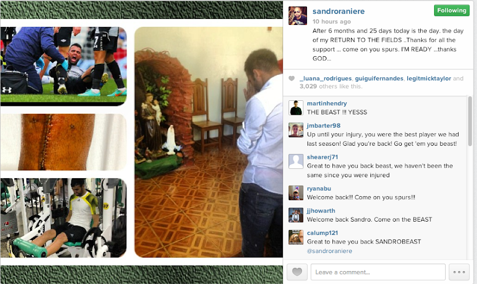 Screen+Shot+2013 08 10+at+22.48.20 The Beast is Back! Sandro marks Spurs return with video & Instagram picture